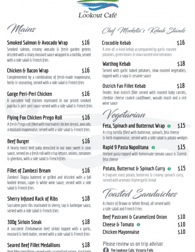 The Lookout Cafe - Ala Carte Menu 1 of 2
