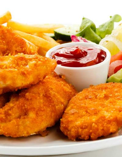Kids Menu - chicken nuggets, chips and salad